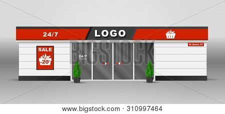 Supermarket Building Front Shop Construction Urban Store Retail Supermarket Exterior Vector Image Wi