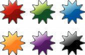 Colorful star burst label icon symbols vector poster
