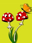 Vector picture with funny mushrooms and butterfly poster