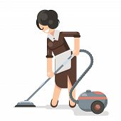 Housemaid cleaner vacuum cleaner cleanliness flat design character vector illustration poster
