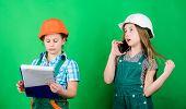 Kids girls planning renovation. Initiative children girls provide renovation their room green background. Renovation plan. Home improvement activities. Builder engineer architect. Future profession poster