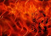 Abstract background with a burning flame and dragon poster