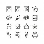 Laundry line icons. Set of line icons. Breathing fabric, hand washing, two pillows. Laundry concept. Vector illustration can be used for topics like washing up, laundry poster