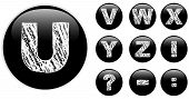 Vector - Alphabet Chalk Letters in shiny Black Buttons poster