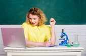 Study microbiology. Investigate molecular modifications. Scientific research. Microbiology concept. Student girl with laptop and microscope. Molecular biology PhD projects. Scientist microbiology poster