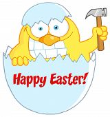 Happy Easter Chick Holding A Hammer In A Shell Cartoon Character poster
