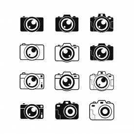 Set Of Photo Camera Icon Vector Isolated On White Background, Photo Camera Icon Vector Design Concep