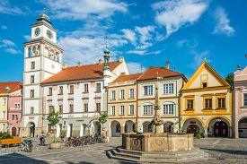 Trebon,czech Republic - June 20,2019 - Theater Building At The Masaryk Sqaure Of Trebon. Trebon Is A