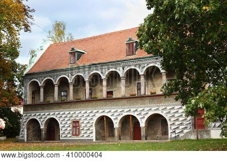 Red House residence next to the castle in Ceska Lipa, Czech Republic