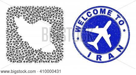 Vector Collage Iran Map Of Airliner Items And Grunge Welcome Seal. Collage Geographic Iran Map Creat