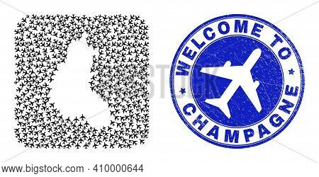 Vector Mosaic Champagne Province Map Of Air Shipping Items And Grunge Welcome Stamp. Mosaic Geograph