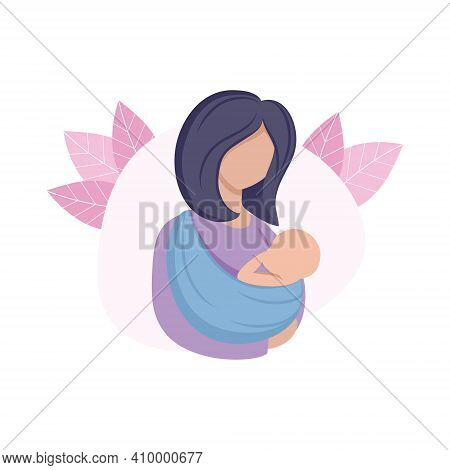 The Mother Holds The Child In A Sling. Mother And Newborn Baby. Pregnancy, Childbirth, Motherhood. V