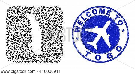 Vector Mosaic Togo Map Of Aeroplane Items And Grunge Welcome Seal. Mosaic Geographic Togo Map Create