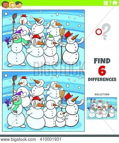 Cartoon Illustration Of Finding The Differences Between Pictures Educational Game For Kids With Funn