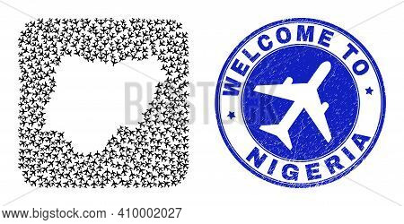 Vector Mosaic Nigeria Map Of Airflight Elements And Grunge Welcome Badge. Mosaic Geographic Nigeria