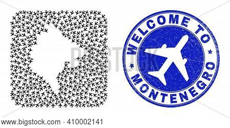 Vector Mosaic Montenegro Map Of Air Fly Elements And Grunge Welcome Seal. Mosaic Geographic Monteneg