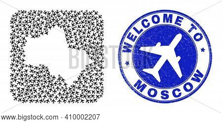 Vector Mosaic Moscow Region Map Of Air Plane Elements And Grunge Welcome Seal Stamp. Collage Geograp