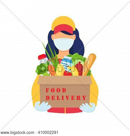 Safe Food Delivery. Young Delivery Girl Delivering Grocery Order With A Mask And Gloves During The C