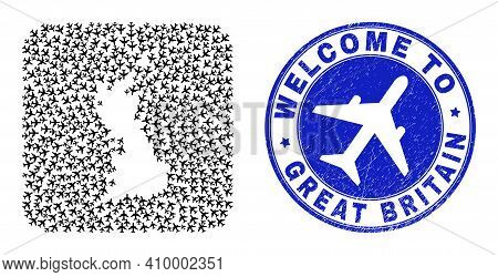 Vector Mosaic Great Britain Map Of Tourism Items And Grunge Welcome Stamp. Mosaic Geographic Great B