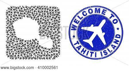 Vector Mosaic Tahiti Island Map Of Sky Jet Items And Grunge Welcome Seal. Mosaic Geographic Tahiti I