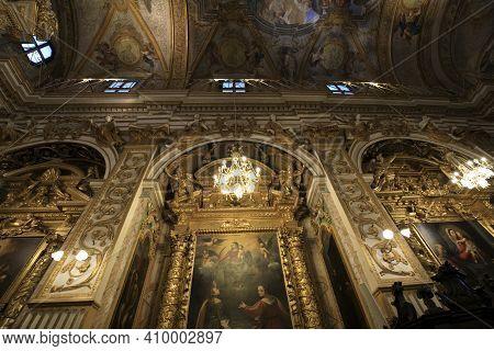Serra San Quirico (an), Italy - January 1, 2019: Santa Lucia Church Inside In Serra San Quirico Vill