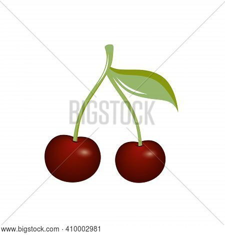 Two Juicy Bright Cherries On A Green Branch With A Leaf On A White Background Are Isolated. Drawing
