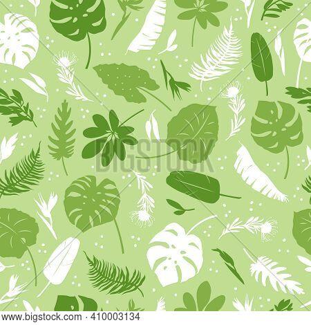 Vector Seamless Pattern Of Tropical Leaves, Plants, Flowers On Dark Green