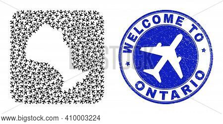 Vector Collage Ontario Province Map Of Air Flight Elements And Grunge Welcome Seal. Mosaic Geographi