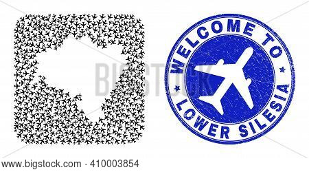 Vector Collage Lower Silesia Province Map Of Airline Elements And Grunge Welcome Stamp. Collage Geog