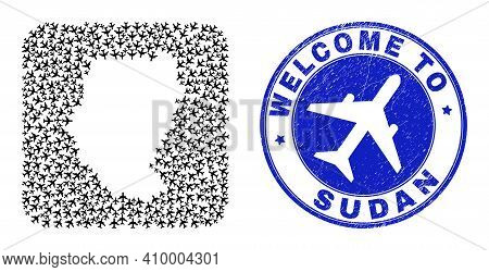 Vector Collage Sudan Map Of Air Shipping Elements And Grunge Welcome Stamp. Collage Geographic Sudan