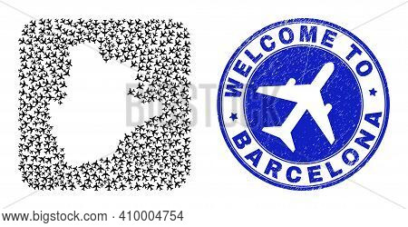 Vector Collage Barcelona Province Map Of Airliner Elements And Grunge Welcome Seal. Mosaic Geographi