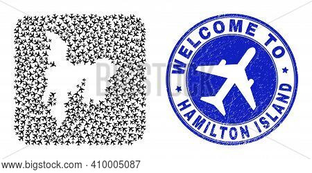 Vector Collage Hamilton Island Map Of Air Shipping Elements And Grunge Welcome Badge. Collage Geogra