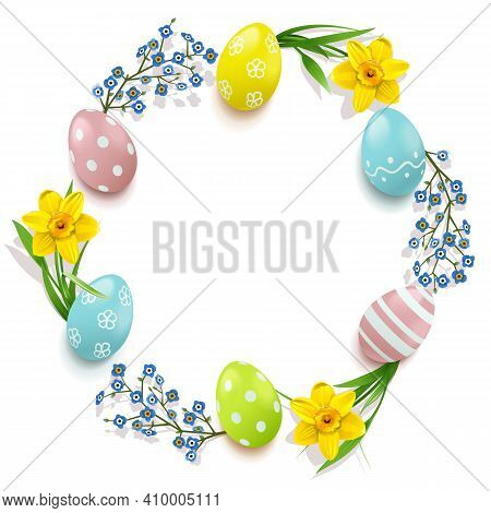 Vector Easter Circular Concept Isolated On White Background