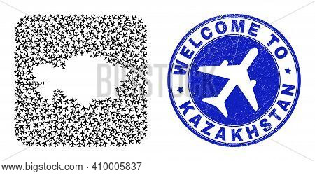 Vector Collage Kazakhstan Map Of Airplane Elements And Grunge Welcome Seal. Collage Geographic Kazak