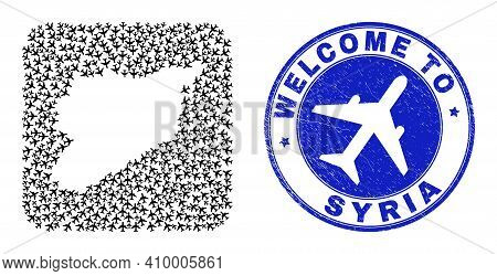Vector Collage Syria Map Of Items And Grunge Welcome Seal. Collage Geographic Syria Map Constructed