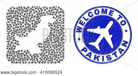 Vector Collage Pakistan Map Of Air Vehicle Elements And Grunge Welcome Badge. Mosaic Geographic Paki