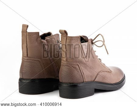 Brown Leather Boots With Beige Laces And Zipper On The Side. Elasticated Side Details And Dark Brown