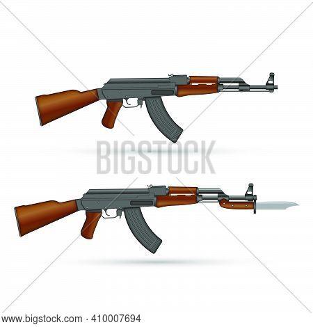 Kalashnikov Ak-47 Assault Rifle With Bayonet Knife Isolated On White Realistic Vector Illustration,