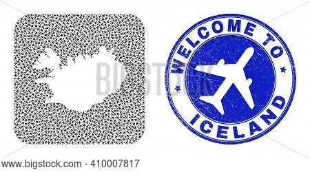 Vector Collage Iceland Map Of Tourism Items And Grunge Welcome Seal Stamp. Collage Geographic Icelan