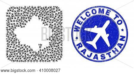 Vector Collage Rajasthan State Map Of Elements And Grunge Welcome Seal Stamp. Mosaic Geographic Raja