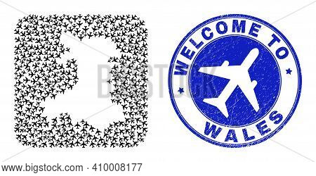 Vector Mosaic Wales Map Of Trip Elements And Grunge Welcome Seal. Mosaic Geographic Wales Map Constr