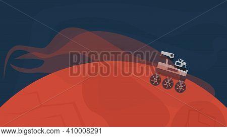 Rover On Mars Explores Mars. Flat Concept Vector