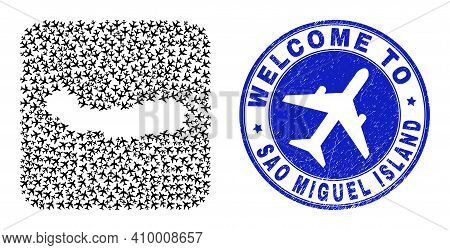 Vector Mosaic Sao Miguel Island Map Of Aero Elements And Grunge Welcome Badge. Collage Geographic Sa