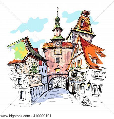 Vector Color Sketch Of Markusturm In Medieval Old Town Of Rothenburg Ob Der Tauber, Bavaria