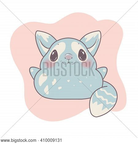 Cartoon Cute Raccoon Or Chinchilla, Character On White Background