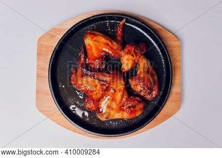 Buffalo Chicken Wings, American Food Isolated On White Background.