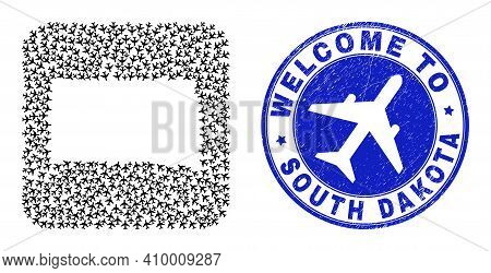 Vector Mosaic South Dakota State Map Of Air Shipping Elements And Grunge Welcome Badge. Mosaic Geogr