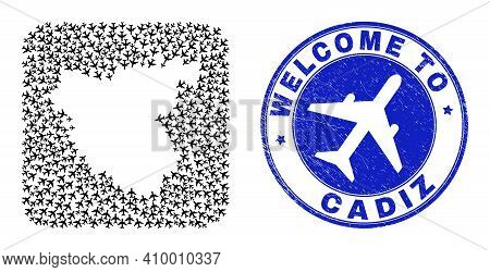 Vector Collage Cadiz Province Map Of Air Shipping Elements And Grunge Welcome Seal Stamp. Collage Ge