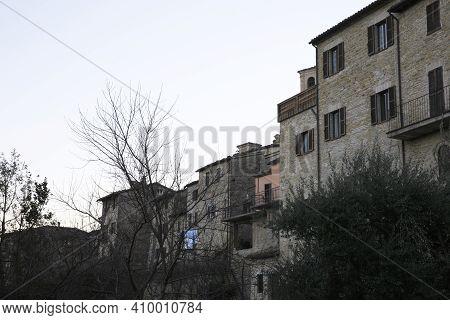 Serra San Quirico (an), Italy - January 1, 2019:  Serra San Quirico Village, Ancona, Marche, Italy