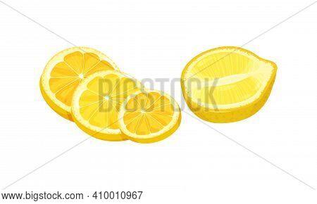 Halved And Sliced Lemon Citrus Fruit With Juicy Flesh Vector Set